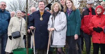 Oak trees planted in memory of Joan and David Morrish